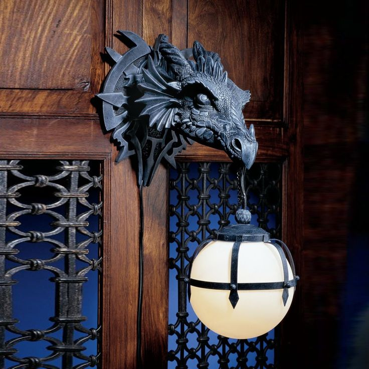 Design Toscano CL2425 Marshgate Castle Dragon Sculptural Electric Plug-In Wall Sconce
