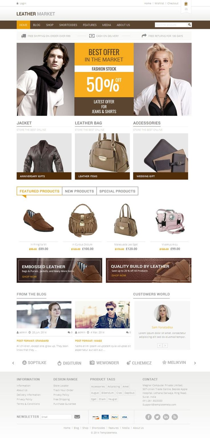 Leather Market is #wordpress ecommerce #theme based on WooCommerce plugin. It is suitable for leather products, shoes, bags, women and fashion designer related online stores. http://www.templatemela.com/leather-market-woocommerce-responsive-theme.html