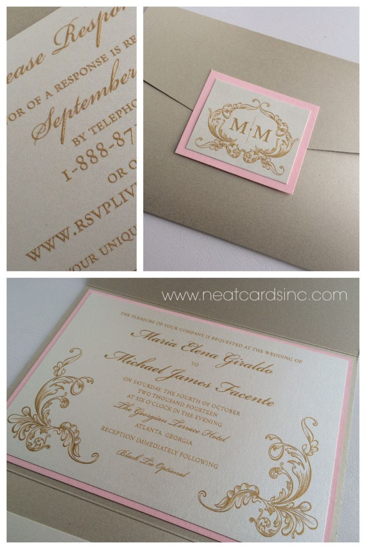 Ivory and gold pocket invitation with pink