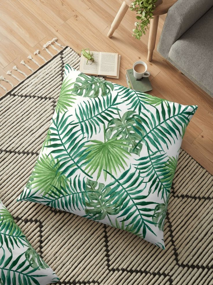 """This day's special – """"Tropical Palm Leaves"""" Floor Pillows. Grab your  👉✔✔ society6.com/goljakoff✔✔👈 or here  👉✔✔ redbubble.com/people/goljakoff✔✔👈  ---  #society6 #custom #sales #discount #design #art #vintage #homegoods #modern #artdecor #cheap #prices #prints #store #canvas #covers #shower #iphone #apple #accessories #goljakoff #sale #floorpillows #homedecor #nature #green #summer #plants #florals #tropical"""