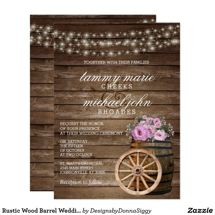 511 best rustic wedding invitations images on pinterest rustic wood barrel wedding with pretty pink floral stopboris Images