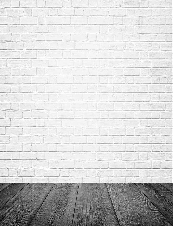 Milk White Brick Wall Texture With Old Wood Floor Photography
