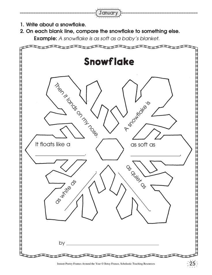 simile snowflake poetry, similes