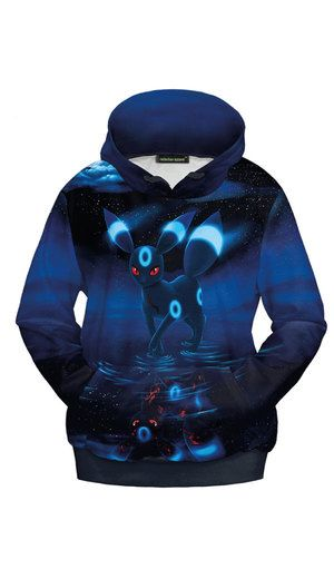 Bright digitally printed Pokemon hoodie made of stretchy satin effect shiny fabric, all over printed with shiny Umbreon in dark scene. S: Chest: 108cm | length: 63cm | arm: 60cm M: Chest: 110cm | length 64cm | arm: 61cm Made of polyester and spandex.