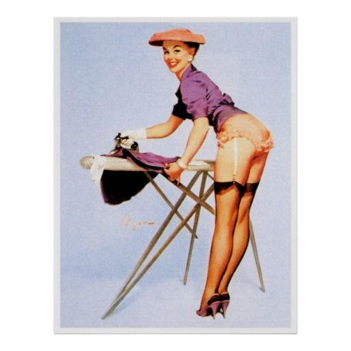 Beautiful Girl Ironing Skirt ~ Retro Pin Up Girl Poster