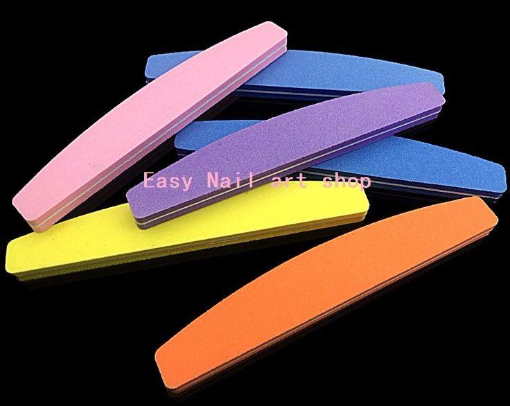 50* Mix  Boat shape Nail Files Nail Buffer Block Tools EVA Nail File Nail Buffer Grinding Tools Emery,100/180.Professional