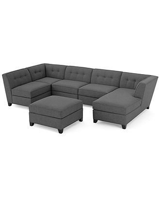 Harper Fabric Modular Sectional Sofa, 6 Piece (Square Corner Unit, Right Arm-Facing Chaise, 3 Armless Chairs and Ottoman) - furniture - Macy...