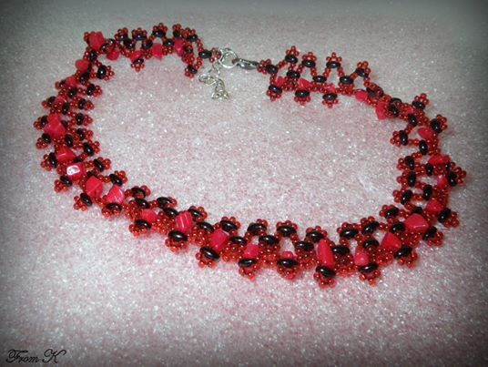 "Seed beaded #classy #choker #necklace. Necklace is an ideal jewelry for decollete evening dresses. It will underline your beautiful neck. Czech candy red seed beads, special black ""twin"" beads and red jasper gem stones are used here. (""twin"" bead is the latest trend in beaded jewelry). Length is very flexible and adjustable - approximately 34 cm, slightly stretchable up to 37 cm. Extend chain is added which can make this necklace to sit right on the base of the neck. 30.00 Ron"