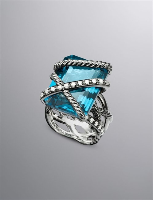 Cable Wrap Ring, Hampton Blue Topaz, 20x15mm