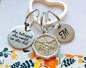 Nurse Keychain, Personalized Nurse Gift, Nursing Degree, She belived she could so she did, Hand Stamped Keychain, Personalized RN Keychain