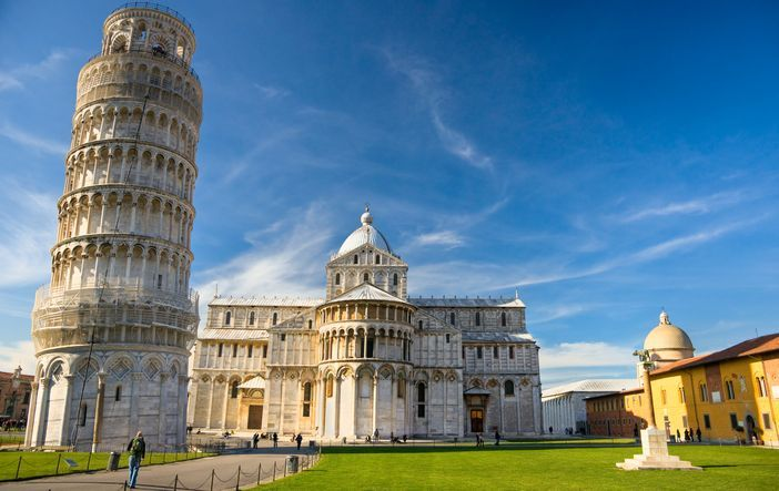 Piazza dei Miracoli, with the Basilica and the Leaning Tower, Pisa, Italy