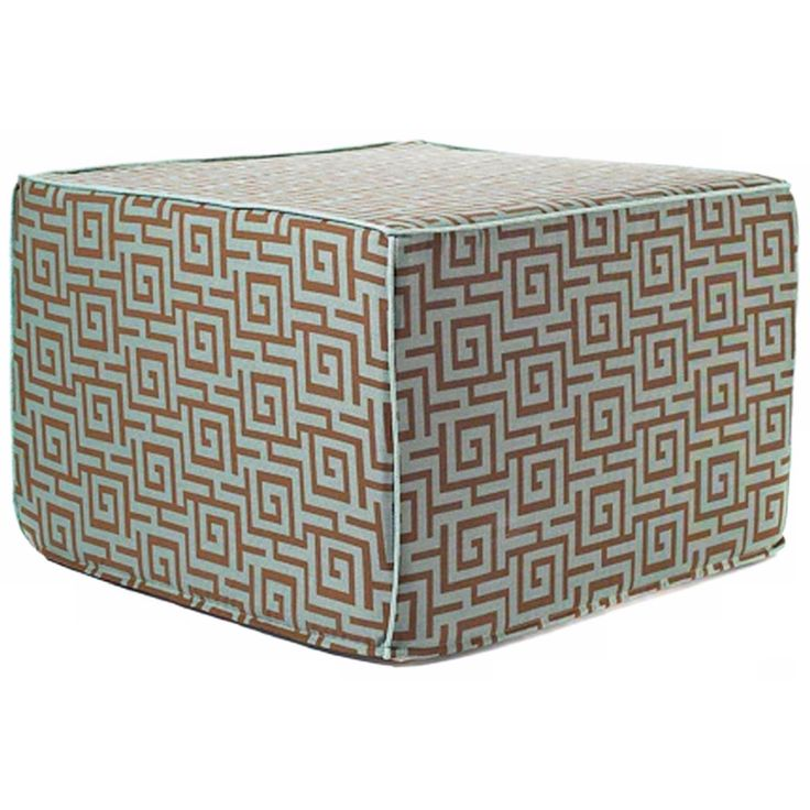 Puzzle Outdoor Square Blue and Brown Ottoman - Style # Y5405