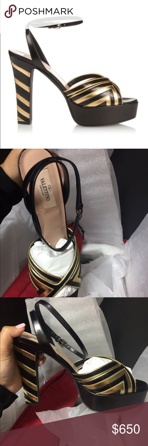 Valentino garavani black gold platforms 100 % authentic Valentino garavani platforms in black and gold. Comes with everything you see in the pictures. Sizes 37, 38, and 39. Reasonable offers accepted! Valentino Garavani Shoes Platforms