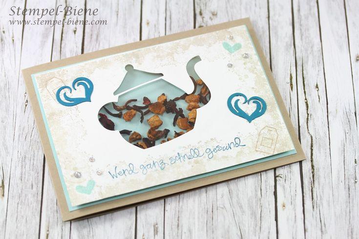 Schüttelkarte Teekanne, Schüttelkarte basteln, Teestunde Stampin up; Gute Besserungskarte; Gute Besesrung; Stempel-Biene; Stampinup Papeterie
