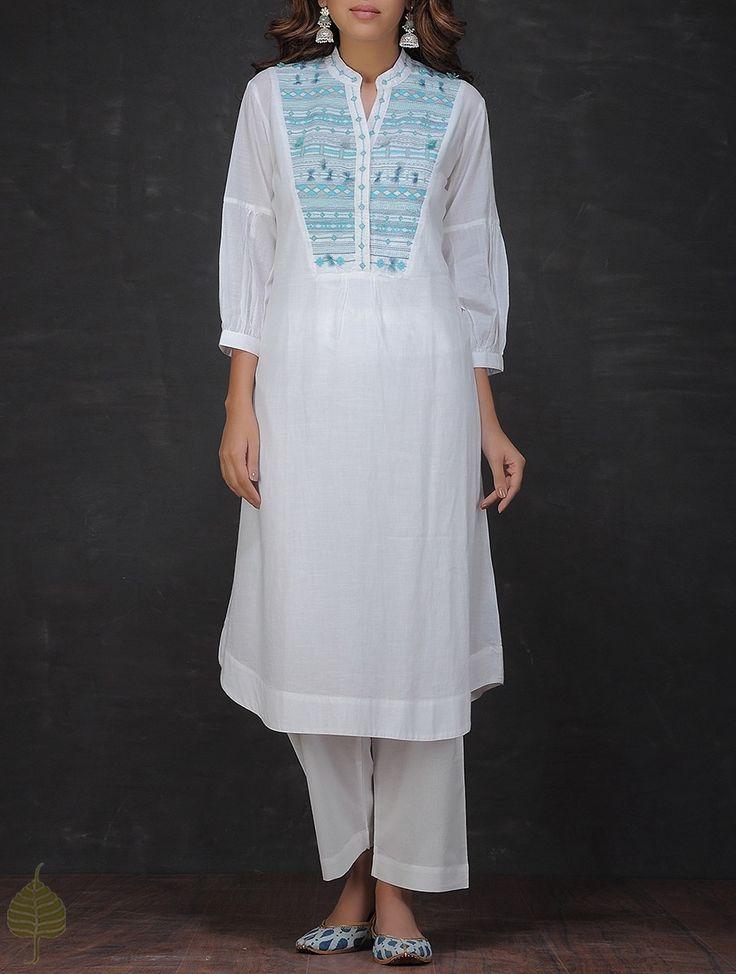 Buy White Blue Embroidered Mandarin Collar Cotton Kurta by Jaypore Women Kurtas…