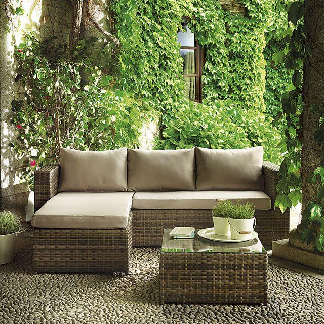 Set relax para terraza y jardín, en acero recubierto de fibra sintética color natural con chaiselongue compuesto por: