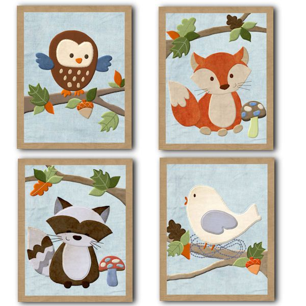 Forest Friends Nursery Bedding art prints for Kids baby room (set of 4). $20.00, via Etsy.