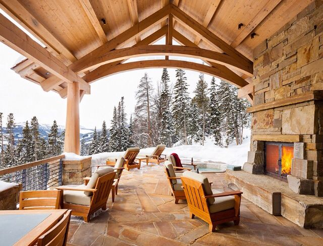 Ski Lodge Outdoor Fireplace Showroom Lovin Pinterest