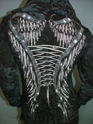 Affliction Michelle Rhinestone Sinful Hoodie sweat Shirt Jacket Top