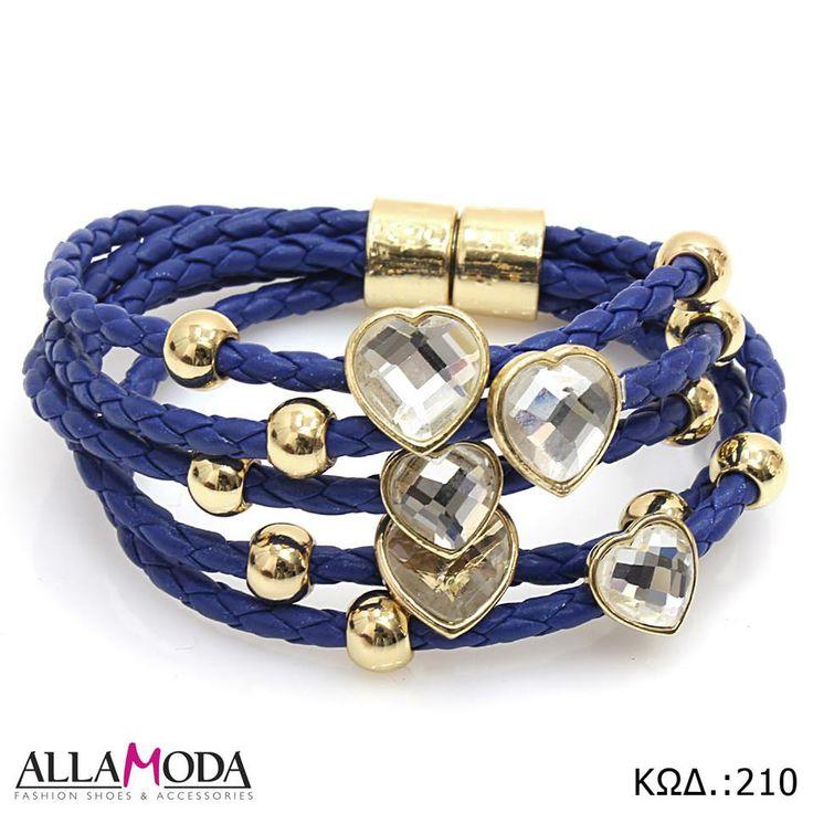 Βραχιόλι χειρός σε Μπλε Απόχρωση, χρυσά Στοιχεία , μαγνητικό Κούμπωμα και διακοσμητικές Καρδούλες. https://www.facebook.com/media/set/?set=a.590076077725316.1073741839.540689855997272&type=3