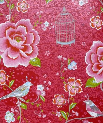 Birds in Paradise Red | PaperRoom