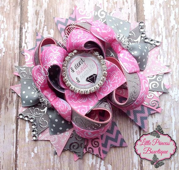 I Don't Sweat I Sparkle Hair Bow by LilPrincessBowtique8 on Etsy, $13.00