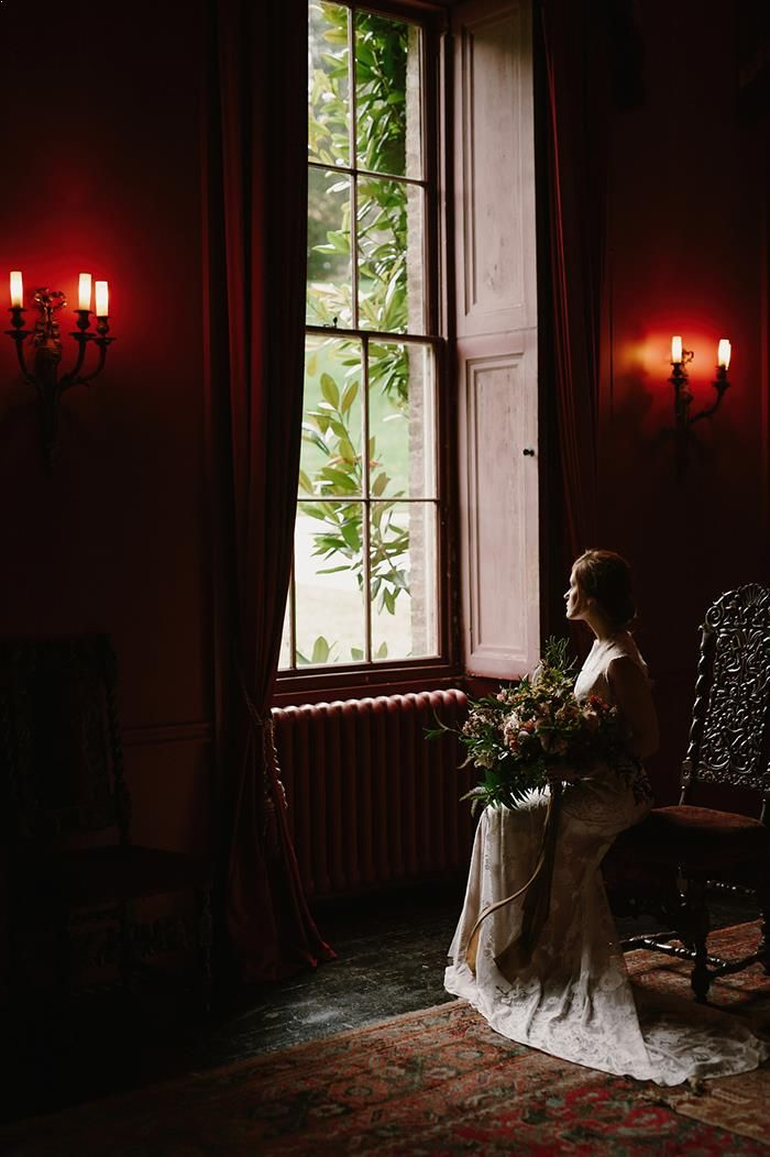 Moody Bridal Portrait Session in England Claire Pettibone Gown