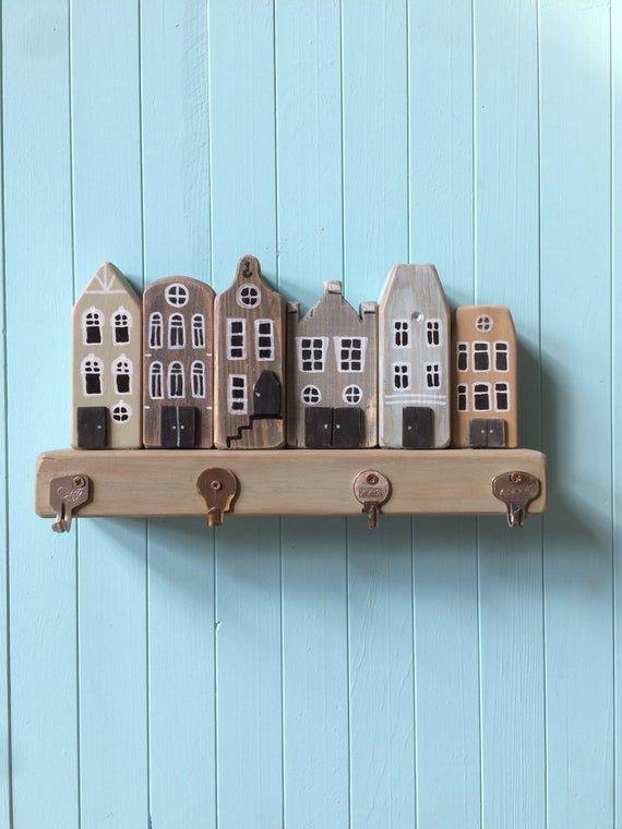 Dollhouse Miniature Metal Wall Key Holder with Hooks
