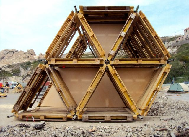 Temporary Outdoor Structures Built Entirely from Reclaimed Materials | Junkculture