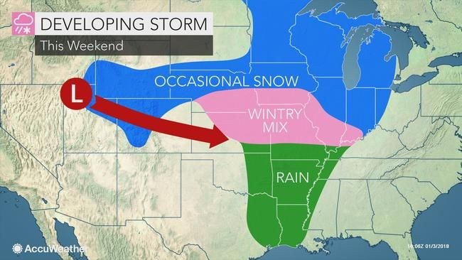 A swath of snow and ice is forecast to spread from the central United States to the Northeast, creating slippery travel conditions over Sunday and Monday.