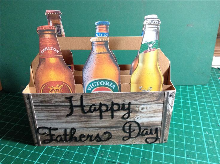 Father's Day 6 pack, for an Aussie.Printed on sticky paper and cut out the beer bottles, made crate out of designer wood grain paper, happy Father's Day die.
