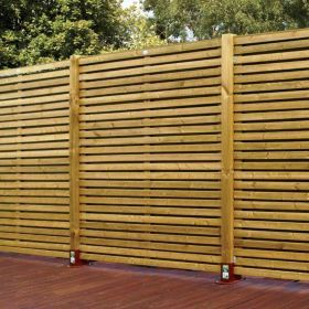 Green Contemporary Timber Fence Panel (W)1.83m (H)1.8m, Pack of 5: Image 1