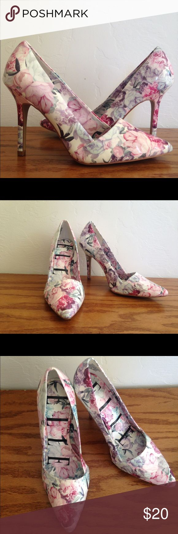 Elle floral heels These Elle floral heels are adorable and in GREAT condition, they have a 4inch  heel and are Summer ready, colors about all shades of pink frm light to dark some earth leave colors just gorgeous ! FREE GIFT WITH EVERY PURCHASE :)  bundle and save!! Elle Shoes Heels
