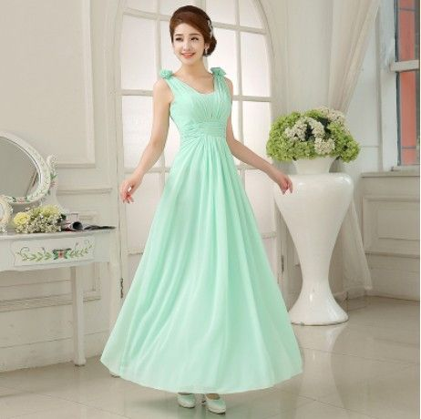 Mint Bridesmaid Dresses To Party Long Formal Dresses Chiffon Light Green Prom Dresses Under $50 vestidos dama de honor