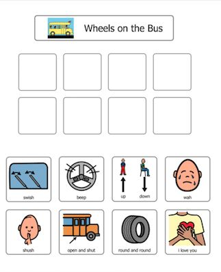 FREE!  This is a fun activity that you can use with any child that you are training in PECS. Sing Wheels on the Bus to the child and have the child choose a picture from the board to give to you. Then sing that part of the song!