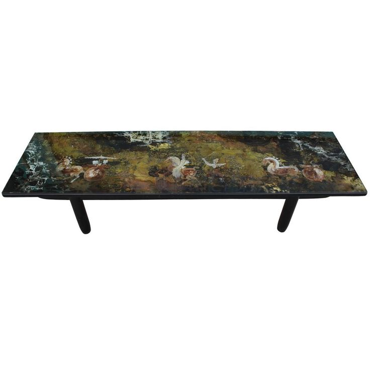 Madox Modern Classic Antique Gold Leaf Glass Coffee Table: Stunning Reverse Painted Glass And Gold Leaf Coffee Table