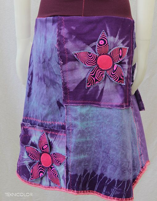 Lovely psychedelic skirt made out of recycled denim by Teknicolor