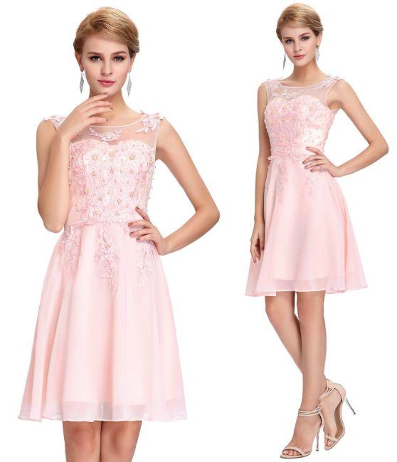 Pink embellished party dress