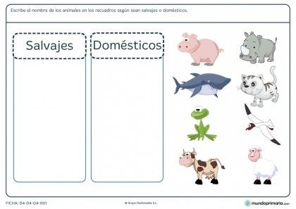 Ficha de animales para primaria