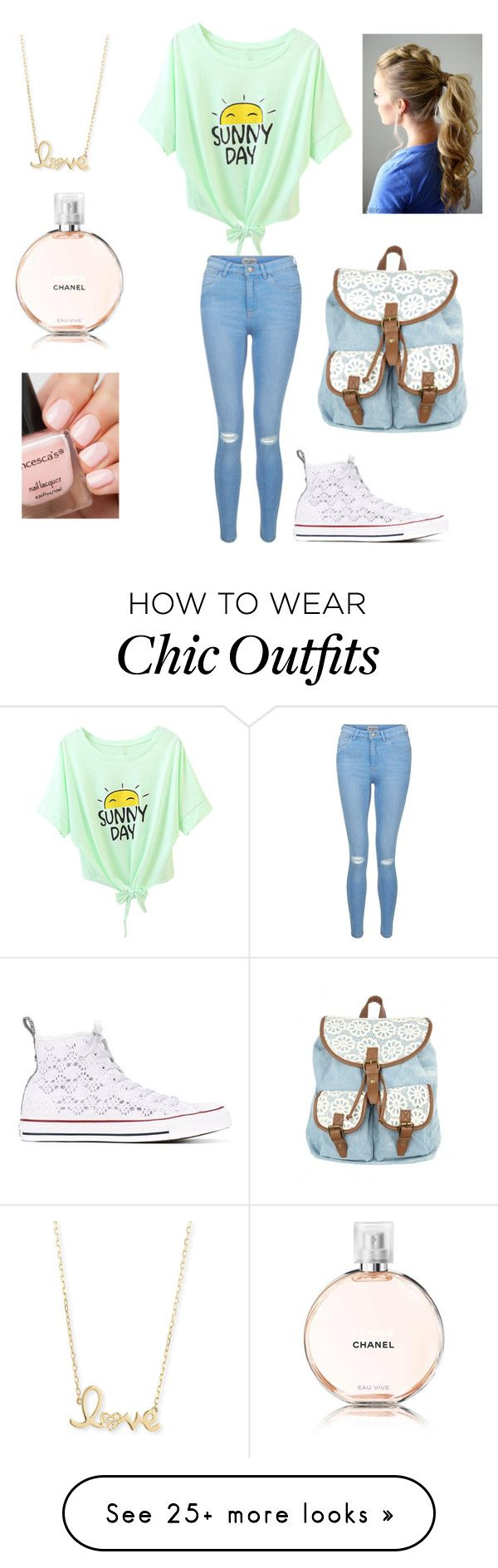 """SUMMER!!!"" by xheba626x on Polyvore featuring New Look, Converse, Sydney Evan and Chanel"