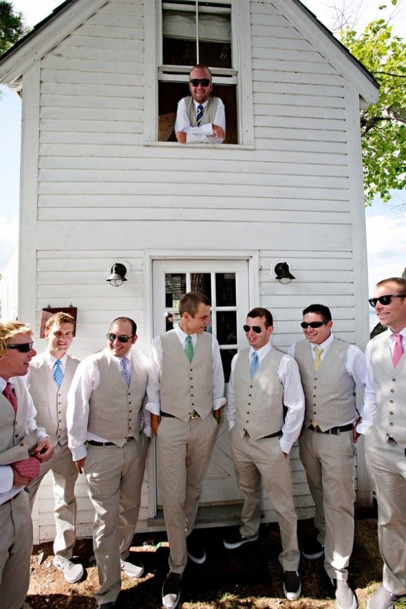 Lakeside Rustic Wedding  GUYS IN KHAKI instead of the standard black suit. This is so much more suitable for an outside wedding
