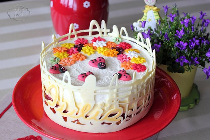 Julia cake, with mango mouse, white chocolate mouse and raspberries jelly - Tort Iulia