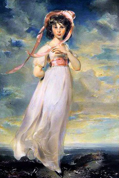 "The story behind the painting via Jane Austen Center: Pinkie, by Thomas Lawrence, 1794, around the same time as the ""Rice Portrait"" of Jane Austen (1788)."