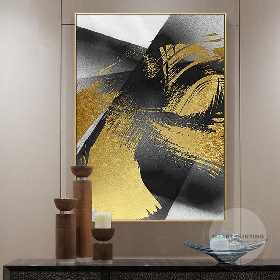Modern Abstract Gold Black Print Painting Luxury Wall Art Pictures On Canvas Framed Ready To Hang Wall Art For Wall Art Pictures Abstract Art Painting Abstract