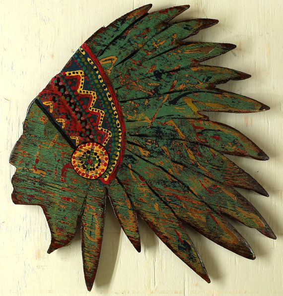 Indian Head Indian Headdress Abstract Indian by TheGlitteredPig