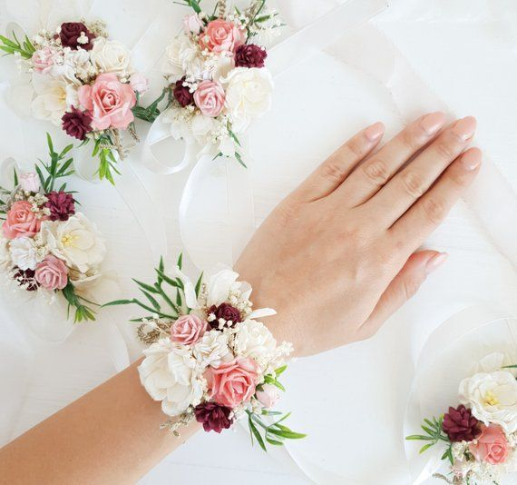 Pink White Flower Wrist Corsage Blush Bridesmaid Corsage Wedding Corsage Pale Pink Corsage Flower W Bridesmaid Corsage Corsage Wedding Wrist Corsage Wedding