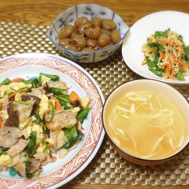野菜たくさん摂れたぁ。 - 132件のもぐもぐ - ピリ辛こんにゃく・切り干し大根のサラダ・カニとネギの中華スープ・豚ときくらげと卵の炒め物 by madammay