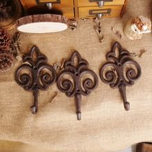Zakka 3pcs/lot Antique Iron Casting Wall Hook Vintage Style Decorative Wall Hanger Metal Coat & Hat Wall Hook Bar & Home Decor(China (Mainland))
