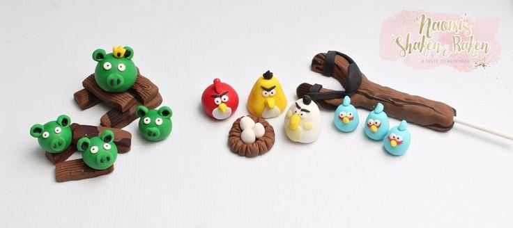 Edible Angry Animal Birds Boy Fondant Cake Toppers Set #Birthday