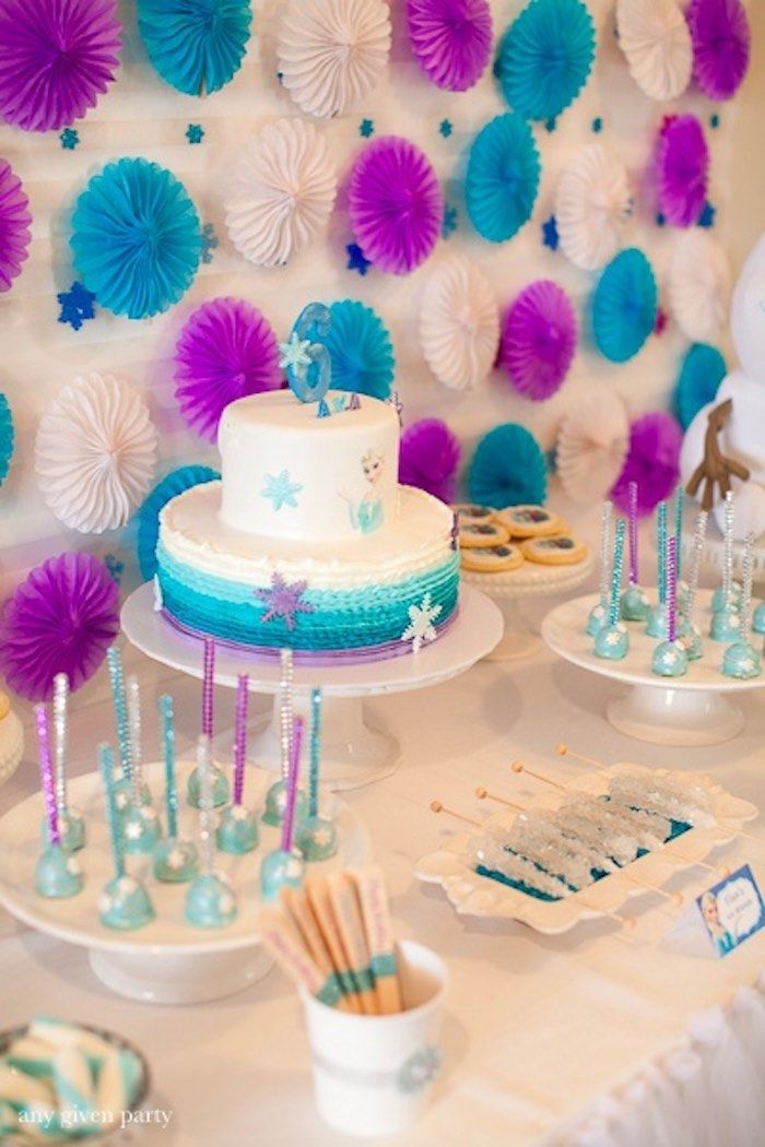 Sweet table from a frozen birthday party via kara 39 s party for 18 birthday party decoration ideas